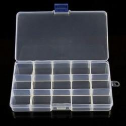 15 rekesz Műanyag 15/10/24 Slots Állítható ékszer tároló doboz Case Craft Organizer gyöngyök