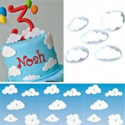 5db beállítása felhő műanyag alapozó vágó torta penész fondant torta díszítő DIY eszközök