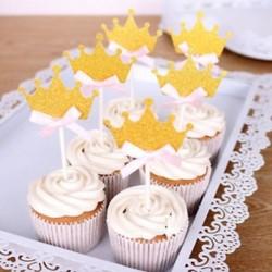 24 db Glitter Crown Cupcake esküvői választás születésnapi torta topper party dekoráció