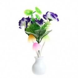 Lila virág US Plug virág gomba LED éjszakai fényérzékelő Baba ágy szoba fali lámpa dekoráció ÚJ