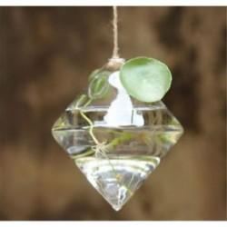 Gyémánt alakú 1 x átlátszó függő üvegbab labdák gyertya Tealight tartó fél esküvői dekoráció