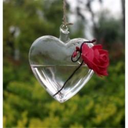 Szív alakú 1 x átlátszó függő üvegbab labdák gyertya Tealight tartó fél esküvői dekoráció