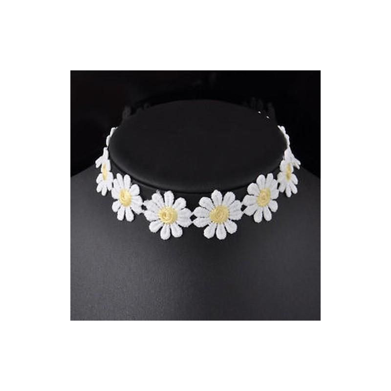 83c051e70 Vintage fehér csipke choker százszorszép virág sárga gallér ...