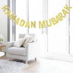 Ramadan Mubarak Bunting Garland csillogó arany levél fél lógó banner dekoráció