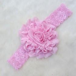 Rózsaszín Stretch baba gyerekek aranyos csipke virág fejfedők haj dekoráció fejfedő fejpánt szép