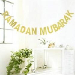 Ramadan Mubarak Bunting Garland csillogó arany levél lóg Banner Party Decor