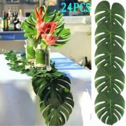 24PCS trópusi Hawaii zöld levelek Luau Moana Home Party asztali díszek