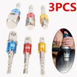 3Pcs 1/4 &quot 3/8&quot  1/2 &quot 3Pc / Set Hex Drill Bit csatlakozó adapter elektromos ütközésvezérlő