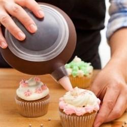 Szilikon Macaron sütés díszítő toll tészta krém torta muffin 3 fúvóka készlet / készlet