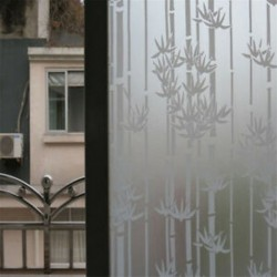 Bambusz 45CMx2M PVC vízálló adatvédelmi hálószoba Fürdőszoba Fagyott ablakfilm matrica