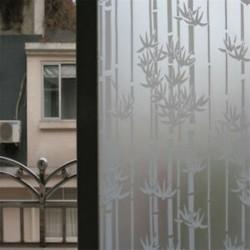 Bambusz 45CMx2M PVC homályos adatvédelem Vízálló hálószoba fürdőszoba ablakfólia matrica