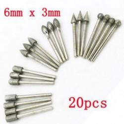 20Pcs / készlet 3 mm-es ezüstszár gyémántcsiszoló furat fúrószerszámok forgó szerszámokhoz