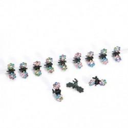 Színezett 12 PCS lányok strasszos kristály virág mini haj karmok klipek bilincsek tartozékok
