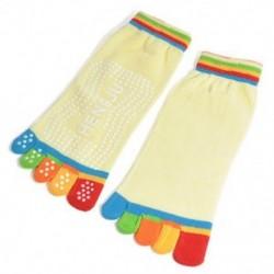 Sárga 1Pair női pamut 5-toe jóga tornaterem nem csúszott masszázs toe zokni teljes fogás színes