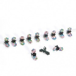 Színezett 12PCS sok lány baba strasszos kristály virág mini haj karmok klipek bilincsek ajándék