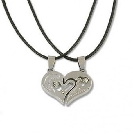 3261d7747 Ezüst ezüst Férfi nők pár szerelmesek szeretlek szív alakú rozsdamentes  acél medál nyaklánc