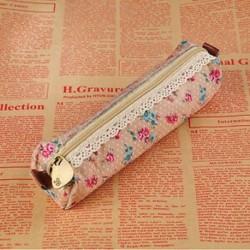 Khaki Vintage virág virág csipke vászon ceruza toll eset lány smink táska tasak tartó