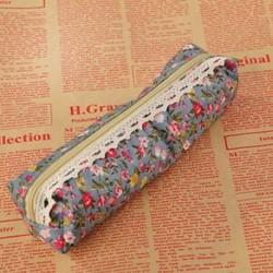 Égszínkék Vintage virág virág csipke vászon ceruza toll eset lány smink táska tasak tartó