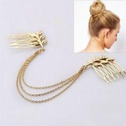 Női Vintage Retro arany hosszú Tassel mandzsetta stílus láncok fém haj fésű Hairband