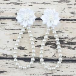 fehér Nyári csecsemő gyerekek baba lány egyedül kiságy mezítláb gyűrű gyöngy virág cipő szandál