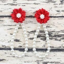 Piros Nyári csecsemő gyerekek baba lány egyedül kiságy mezítláb gyűrű gyöngy virág cipő szandál