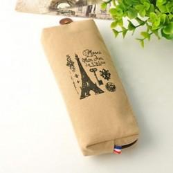 Világosbarna torony Divat Retro Párizs vászon ceruza toll esetben kozmetikai smink érme tasak táska pénztárca