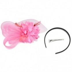 Rózsaszín Lady Fascinator tollas esküvői fél pillangó kalap fejpánt csipke fátyol kiegészítők