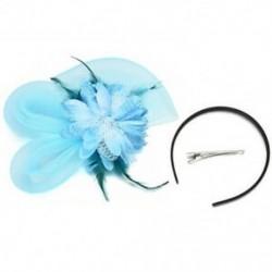 Kék Lady Fascinator tollas esküvői fél pillangó kalap fejpánt csipke fátyol kiegészítők