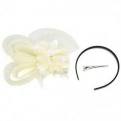 Bézs Lady Fascinator tollas esküvői fél pillangó kalap fejpánt csipke fátyol kiegészítők