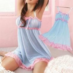 Kék Női szexi fehérnemű csipke ruha Babydoll hálóruha éjszakai fehérnemű fehérnemű G-String