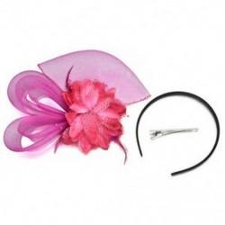 Rózsavörös Női divat Fascinator Toll Esküvői Party Pillbox Hat fejpánt Clip Fátyol