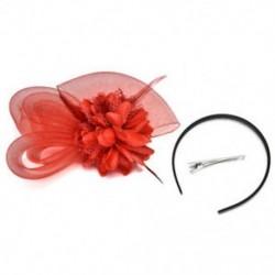 Piros Női Fascinator Feather Esküvői Party Pillbox Hat fejpánt Clip Fátyol Új