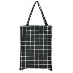 Fekete kockás Kézitáska Vállvászon Tote Satchel Eco Messenger Bevásárlótáska Square Star táska