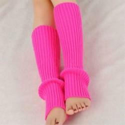 Rózsaszín Nők téli meleg horgolt kötött magas térd láb melegítő leggings Boot zokni Slouch