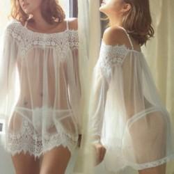 XL Szexi női fehérnemű hálóruha Éjjeli fehérnemű Babydoll csipke fehérnemű G-string ruha