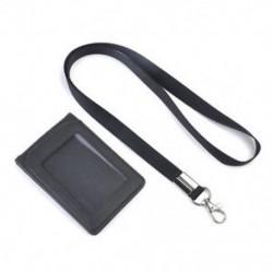 Fekete Bőr Pocket Pénztárca Üzleti azonosító jelvénykártya Hitelkártya tartó Neck Strap Lanyard