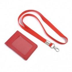 Piros Bőr Pocket Pénztárca Üzleti azonosító jelvénykártya Hitelkártya tartó Neck Strap Lanyard