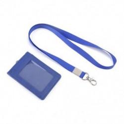 Kék Bőr Pocket Pénztárca Üzleti azonosító jelvénykártya Hitelkártya tartó Neck Strap Lanyard