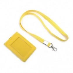 Sárga Bőr Pocket Pénztárca Üzleti azonosító jelvénykártya Hitelkártya tartó Neck Strap Lanyard