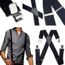 Férfi divat fekete bőr nadrágtartó X-Back állítható Clip-on elasztikus függesztők