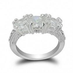 9 * Stílus 2 Női 925 Ezüst Fehér Topáz Esküvői eljegyzési gyűrű Férfi Ékszer Ajándék Méret 6-10