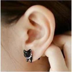 1Pc fekete Punk Cool egyszerű sztereoszkópos macska cica Impalement Lady Stud fülbevaló
