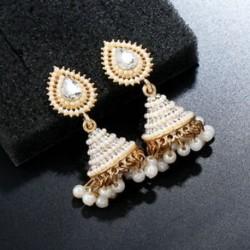 Retro indiai fülbevaló gyöngy medál Jhumka csepp fül Stud Dangle esküvői ékszerek