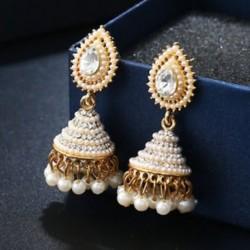 Retro indiai fülbevaló gyöngy medál Jhumka csepp fül Stud esküvői Dangle ékszerek