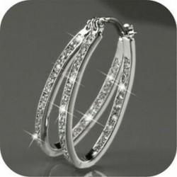 Női 18K arany töltött ezüst CZ kristály nagy karika Huggie esküvői fülbevaló ajándék