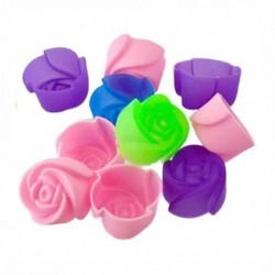 10db Rózsa alakú muffin szilikon sütőforma - I5F1