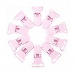 rózsaszín - 10 db-os kisgyermekek T-alakú műanyag cumi klipek, cumi, dummy stílusú jelvény BV