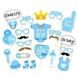 4X (25 db Photo Booth Props) Baby Shower újszülött party fotókészlet (kék) X6A4