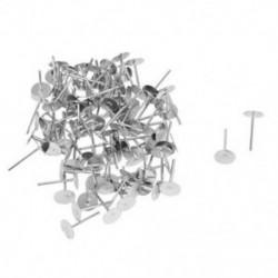 1X (100 db ezüst 6 mm-es lapos pad fülbevaló-oszlopok csapszegekkel R7I1)