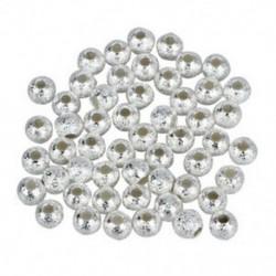 1X (4 mm-es ezüstözött Stardust Sparkle kerek gyöngyök (50) P7D7)